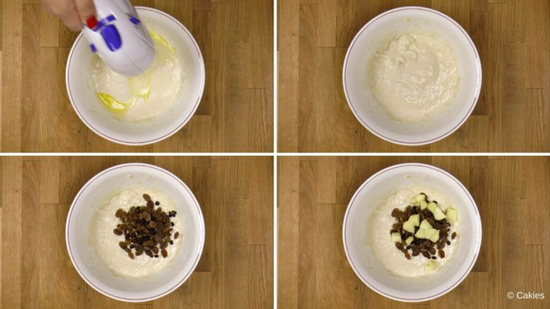 Collage of 4 photos. 1. batter is being mixed with an electric hand mixer. 2. finished batter in bowl. 3. currants and raisins on top of batter in bowl. 4. diced apples on top of currants, raisins and batter in bowl.