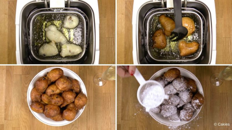 Collage of 4 photos. 1. 4 half fried oliebollen in hot oil that haven't been turned over yet. 2. 4 oliebollen in hot oil that are being turned over. 3. serving bowl filled with golden brown oliebollen. 4. serving bowl filled with oliebollen that are being dusted with confectioners' sugar with a glass champagne on the side.