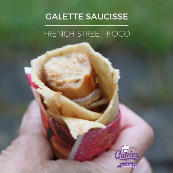 Galette Saucisse Recipe | Galette Saucisse is kind of like a French version of the hotdog. A delicious sausage wrapped in a crêpe. | http://www.cakieshq.com