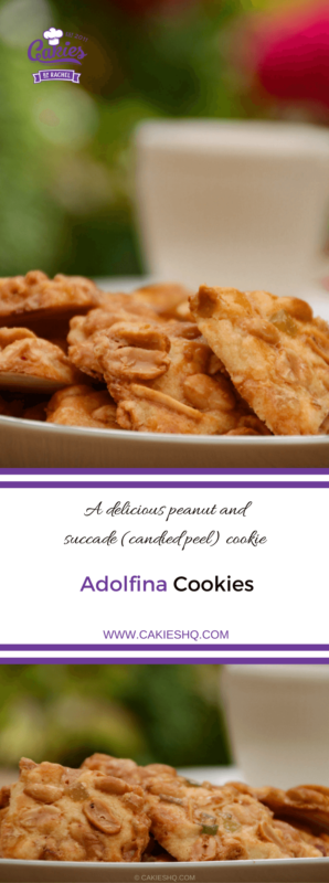 Adolfina cookies are delicious peanut and succade (candied peel) cookies. A delicious shortcrust dough topped with a mix of peanuts and succade.