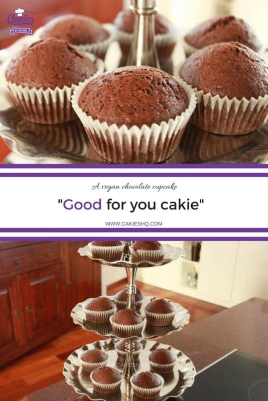 """""""Good for you cakie"""" - A vegan chocolate cupcake. A nutty, earthy and chocolaty light cupcake. Completely vegan, and healthy too!"""