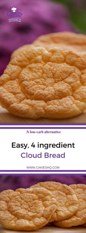 Cloud bread is a low-carb alternative to regular bread. This version of cloud bread uses yogurt instead of cream cheese. An easy, 4 ingredient, cloud bread recipe. #cloudbread #lowcarb