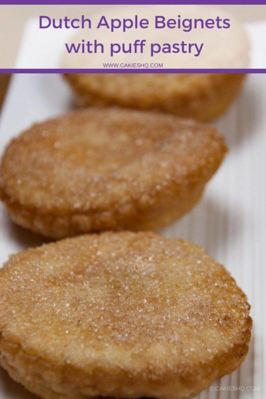 three dutch apple beignets on a white plate