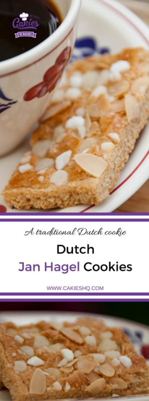Jan Hagel Cookies are delicious traditional Dutch shortbread cookies spiced with cinnamon, topped with almonds and pearl sugar. | Recipe