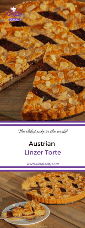 Linzer Torte is believed to be the oldest cake in the world. A classic Austrian torte, made with a short crumbly pastry and a filling of redcurrant jam.