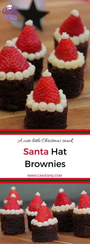 Santa Hat Brownies | These Santa Hat Brownies are super cute and easy to make. A perfect Christmas recipe. Everyone will love these rich brownies topped with strawberries. | https://www.cakieshq.com