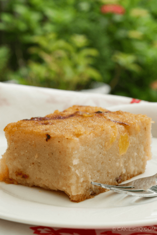 Surinamese Bojo Cake with Pineapple is a cassava-coconut cake with pineapple chunks. This traditional Surinamese cake is often served at parties.