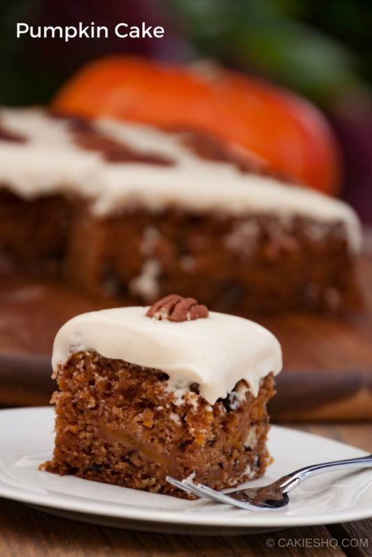 Pumpkin Cake is made with grated pumpkin, apples, pecans with a brown sugar and cream cheese frosting. A pumpkin version of carrot cake. #pumpkin #pumpkincake #recipe #recipes