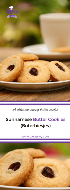 Surinamese butter cookies, or boterbiesjes are a delicious butter cookie topped with a currant or raisin. Surinamese butter cookies are super easy to make. #recipe