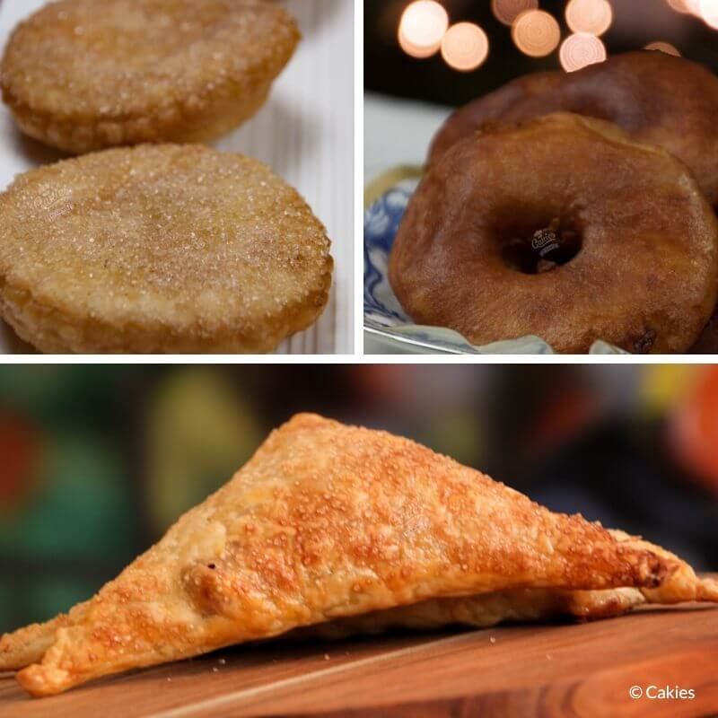 Collage of 3 photos consisting of a photo of appelbeignets and appelflappen.