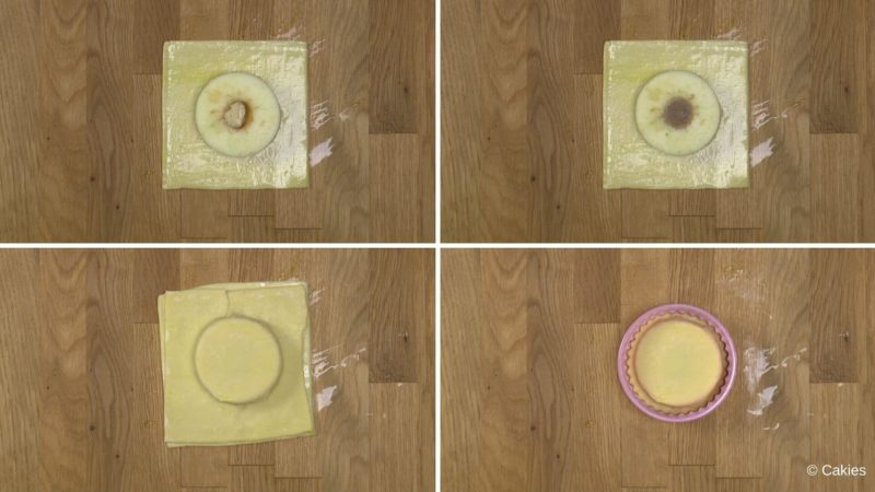 Collage of 4 photos. 1. square piece of puff pastry with a slice of apple on top on a wooden surface. 2. square piece of puff pastry with a slice of apple on top with a almond paste mixture filling the hole of the apple on a wooden surface. 3. square piece of puff pastry with a slice of apple topped with another square piece of puff pastry which has been pushed down to fit around the apple slice. 4. puff pastry filled with apple slice cut in to a circle with a round cutter with scalloped edges.