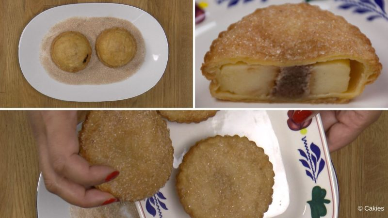Collage of 2 photos. 1. two apple beignets with puff pastry one side down in a shallow dish with cinnamon sugar. 2. two apple beignets with puff pastry on a plate a third one being added to the plate.