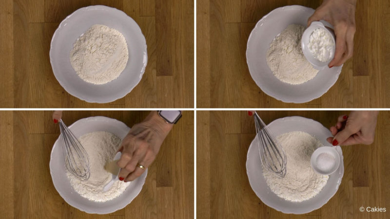 Collage of 4 photos. 1. Flour in a bowl. 2. Cornstarch being added to the bowl. 3. dry yeast being added to the bowl. 4. sugar being added to the bowl.