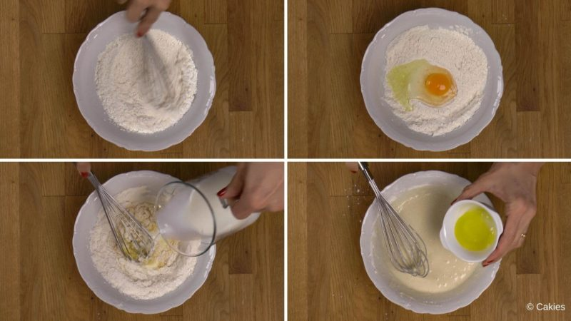Collage of 4 photos. 1. flour, cornstarch, yeast and sugar being whisked in a bowl. 2. egg is added to the bowl. 3. milk is being added to the bowl while whisking. 4. butter is being added to the bowl.
