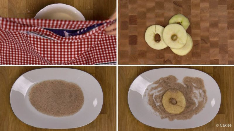 Collage of 4 photos. 1. bowl with batter is being covered with a damp cloth. 2. Apple slices on wooden surface. 3. Cinnamon sugar on a plate. 4. one slice of apple coated with cinnamon on the plate with cinnamon and sugar.