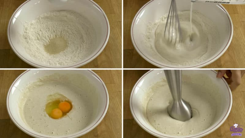 Poffertjes recipe steps; yeast added to a bowl of flour, milk being added to a bowl of flour while being whisked, eggs added to a batter, batter being mixed with a handheld mixer.