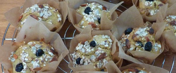 goji berry, blueberry and honey muffins