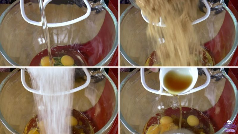 Pumpkin cake photos of adding wet ingredients to a bowl